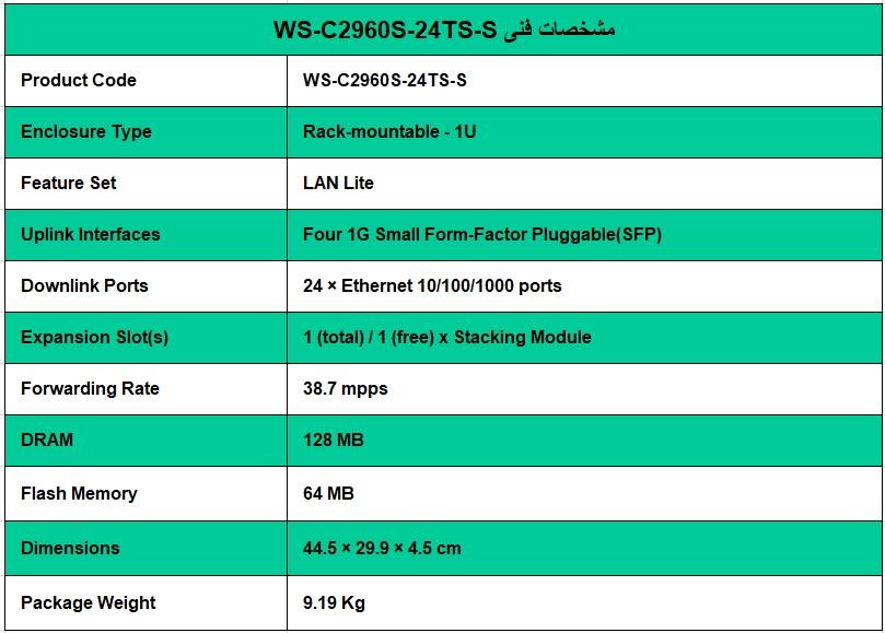 سوئیچ CISCO WS-C2960S-24TS-S - از محصولات فروشگاه اینترنتی دکتر سیسکو