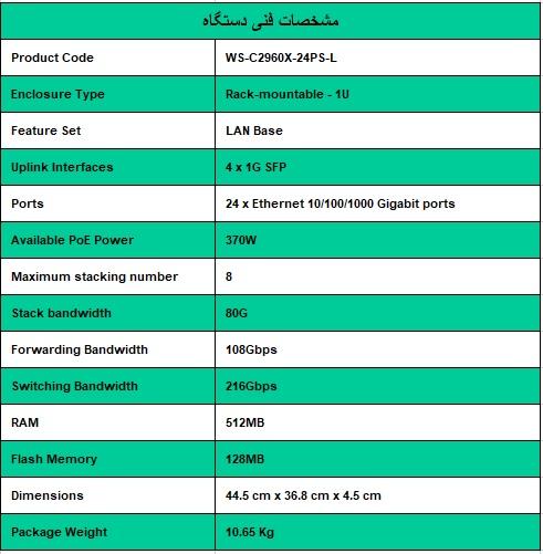 سوئیچ سیسکو - Cisco Switch WS-C2960X-24PS-L